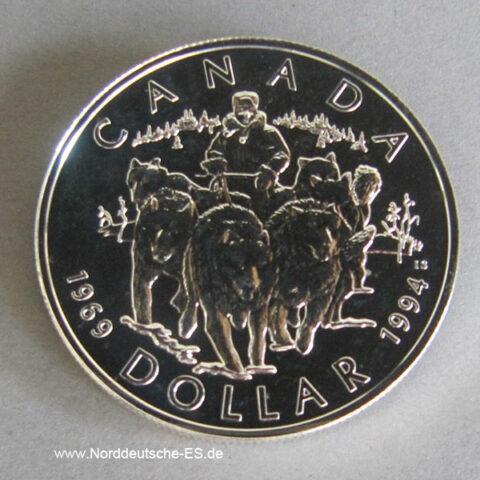 Kanada 1 Dollar 25. Jahrestag letzte Huskystreife 1994 Silber