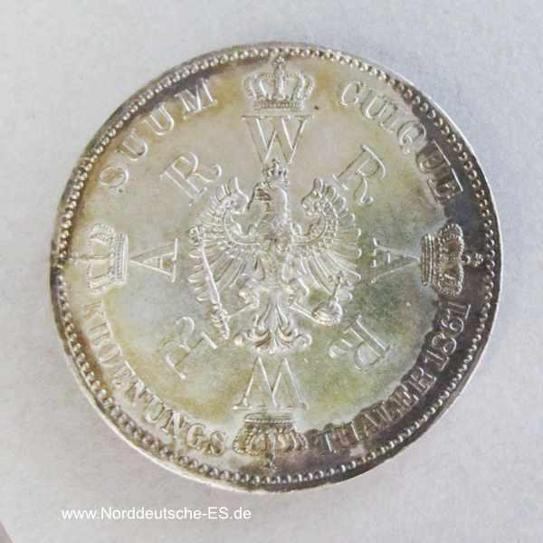 Krönungstaler Silber Preußen Wilhelm I und Augusta 1861