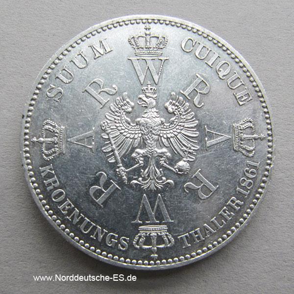 Krönungstaler Preußen Wilhelm I. und Augusta 1861