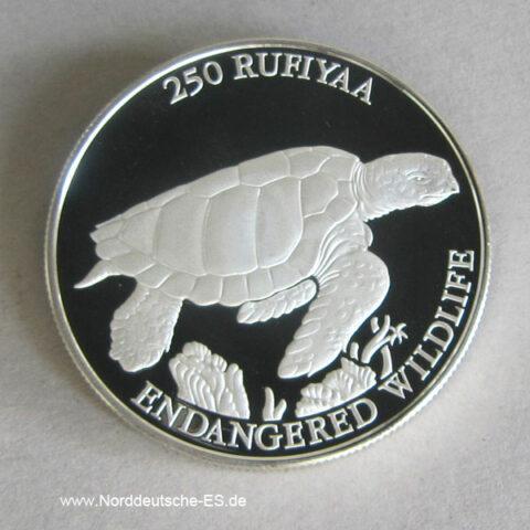 Malediven 250 Rufiyaa Silber 1994 Endangered Wildlife Schildkröte