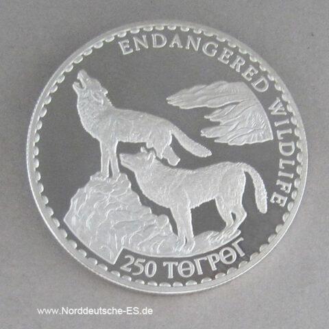 Mongolei 250 Tugrik Silber 1993 Silber Endangered Wildlife Wölfe