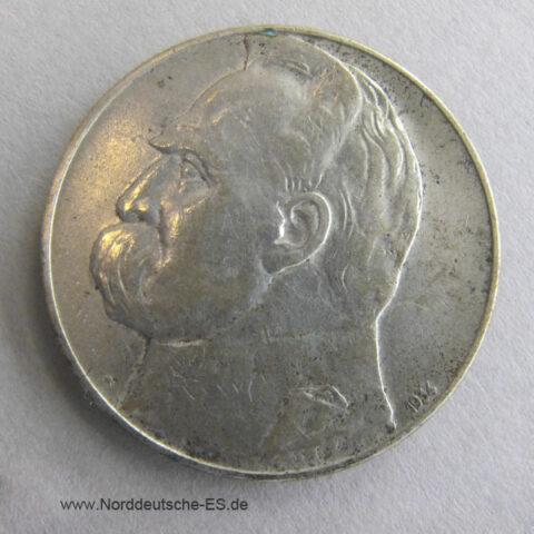Polen 10 Zloty Silber Josef Pilsudski 1934