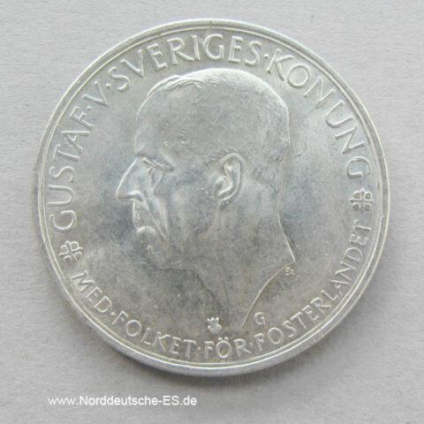 Schweden 5 Kronen Silber 1935 Gustav Sveriges