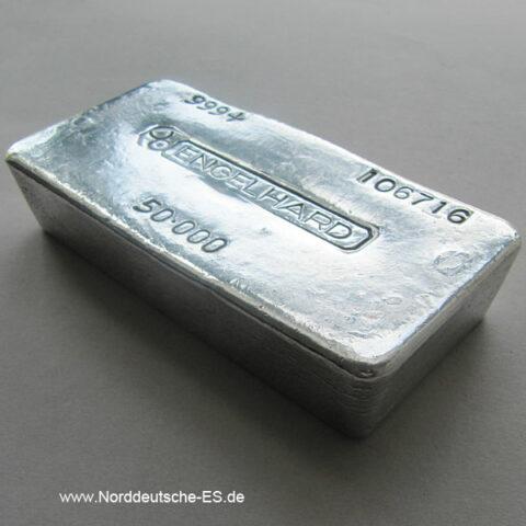 Silberbarren Engelhard 50 Unzen Feinsilber Sammlerbarren