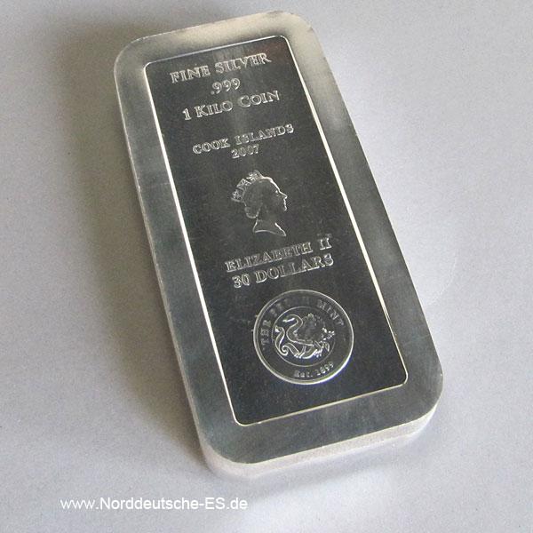 Silberbarren Cook Islands 1 KG Feinsilber 999 Perth Mint 2007