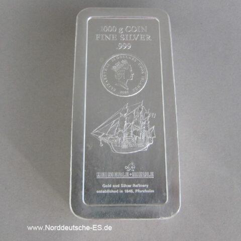 Silberbarren Cook Islands 1 KG Feinsilber 999 Heimerle Meule 2008