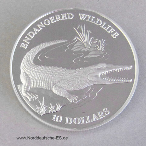 Solomon Islands 10 Dollars Silber Krokodil Endangered Wildlife 1992