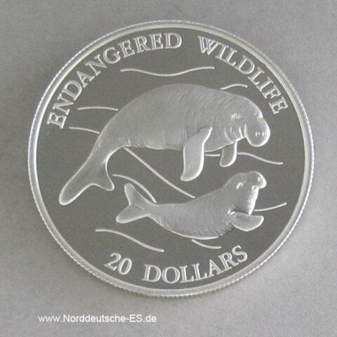 Tuvalu 1994 Gabelschwanzseekuh 20 Dollars Silber