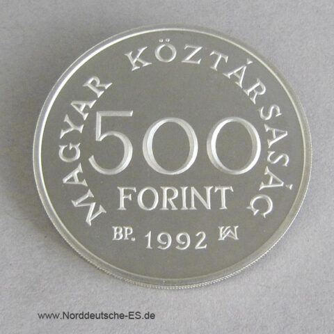 Ungarn 500 Forint 1992 Karoly Robert Silbermünze