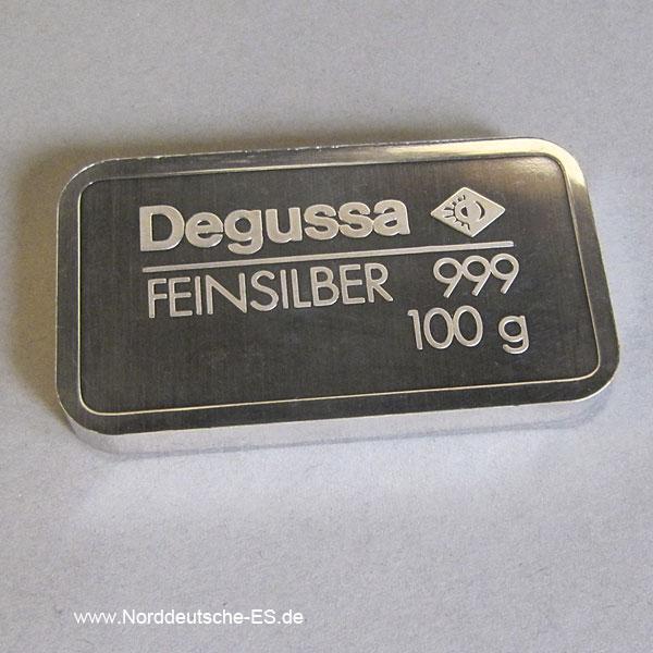 100 Gramm Silberbarren Degussa Feinsilber 999 gestanzt
