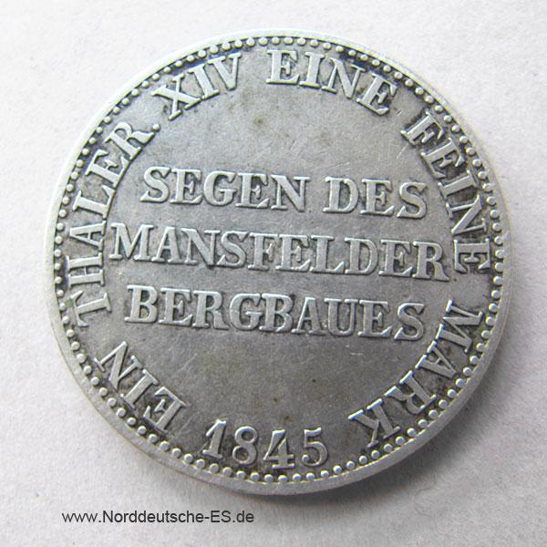 Ausbeutetaler 1845 A Friedrich Wilhelm IV Preussen Mansfelder Bergbau