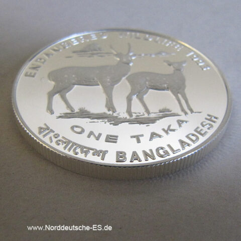 Bangladesch 1 Taka 1993 Endangered Wildlife Hirsche