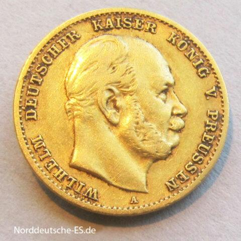 Deutsches Reich 10 MarkWilhelmPreussen1872 Gold