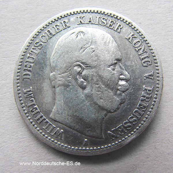 Deutsches Reich 2 Mark Wilhelm I Preussen Silber 1876 1884 Kaiserreich