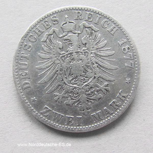 Deutsches Reich 2 Mark Wilhelm I Preussen Silber 1876-1884