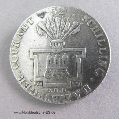 Hamburg Stadt 32 Schilling 1795 OHK Silber Franciscus II
