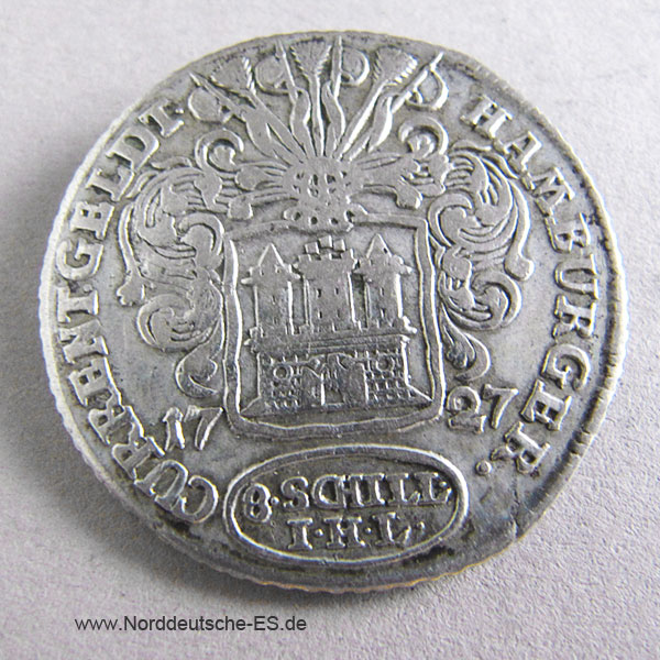 Hamburger Courant 8 Schilling 1727 Silber Hamburg Current