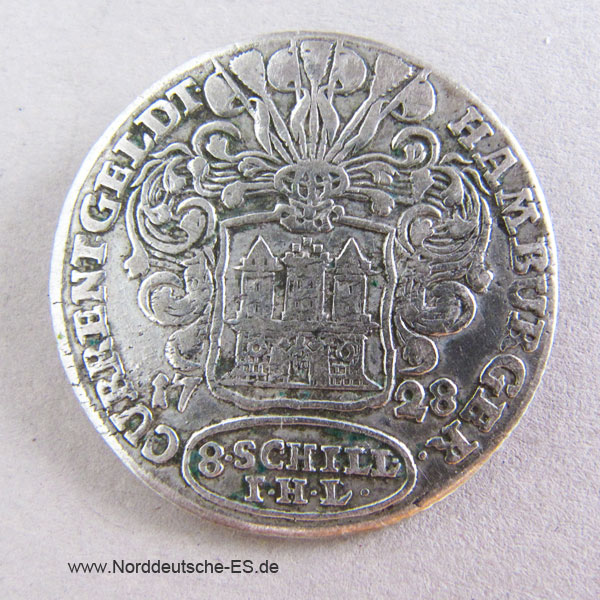 Hamburger Courant 8 Schilling 1728 Silber Hamburg Current