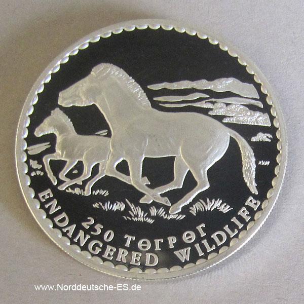 Mongolei 250 Tugrik Silber 1992 Endangered Wildlife Pferde