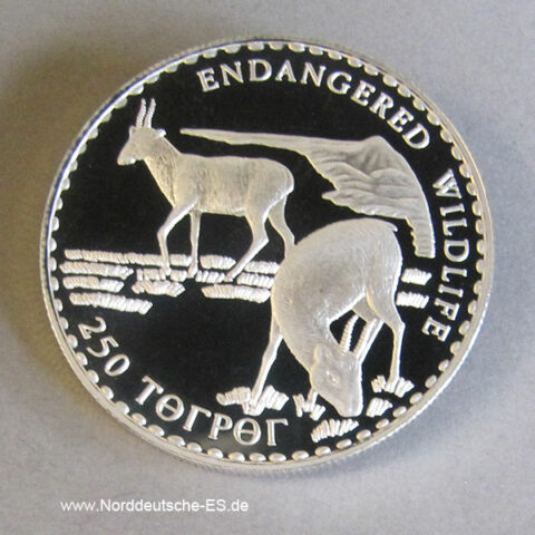 Mongolei 250 Tugrik Silber 1993 Endangered Wildlife Antilope