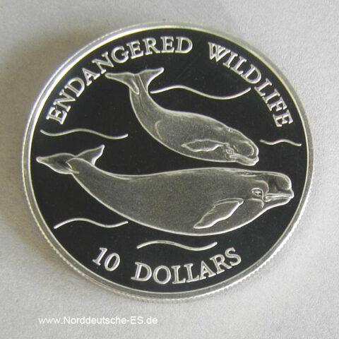 Niue Islands 10 Dollars Silber 1992 Endangered Wildlife Wale