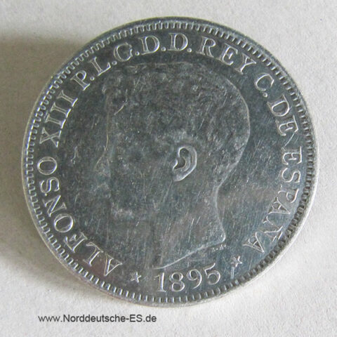 Puerto Rico 1 Peso 1895 PGV Alfonso XIII Silber