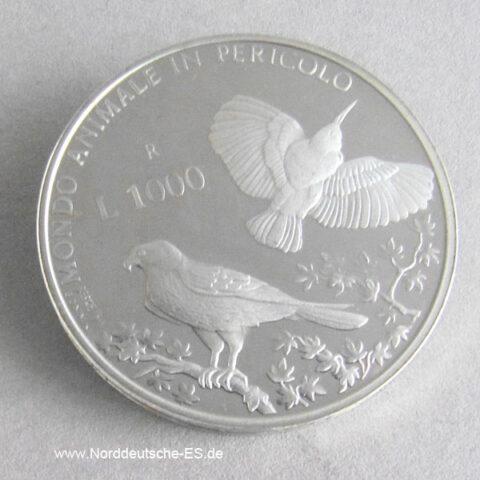 San Marino 1000 Lire Silber Animale Pericolo Falke Mauerläufer 1993