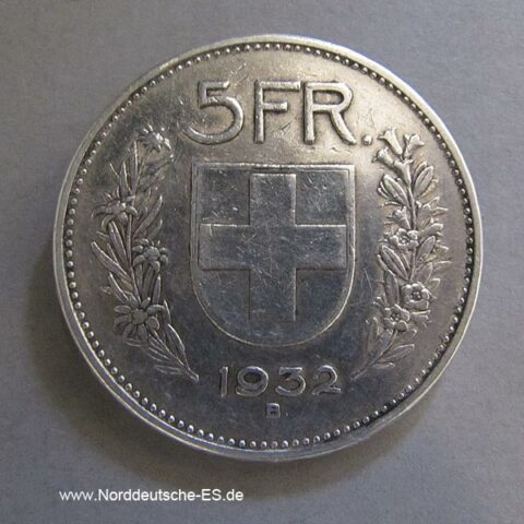 Schweiz 5 Franken 1932 Silber