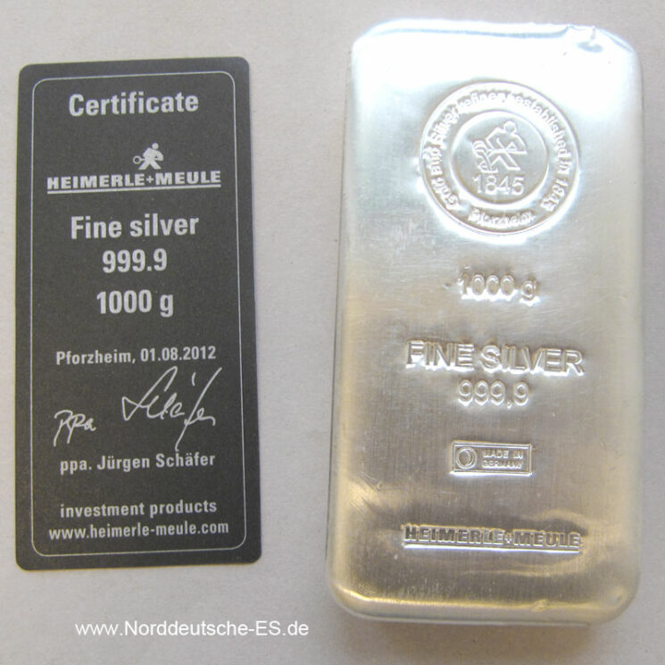Silberbarren 1 Kilo Heimerle Meule Feinsilber 9999 Gussbarren