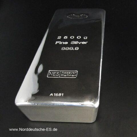 Silberbarren 2500g 2,5Kg Feinsilber 999,9 Norddeutsche Bild2