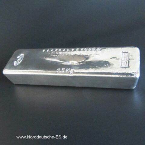Silberbarren Norddeutsche ES 2500g 2,5 Kg 9999