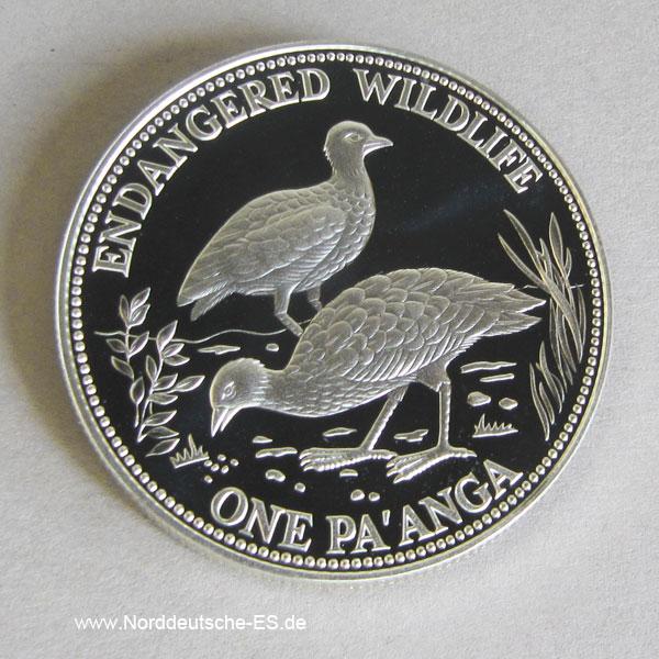 Tonga Silber 1991 Endangered Wildlife Vogel 1 Pa anga