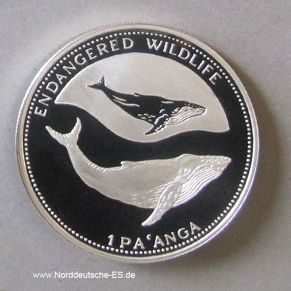 Tonga Silber 1994 Endangered Wildlife Buckelwal 1 Pa anga