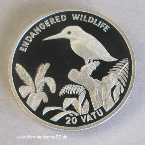 Vanuatu 20 Vatu Silber 1994 Endangered Wildlife Eisvogel