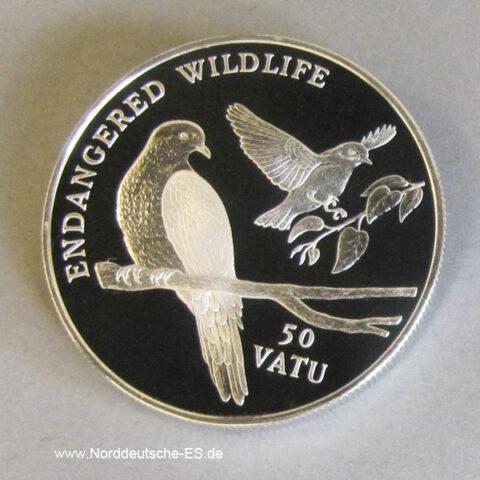 Vanuatu 50 Vatu Silber 1992 Endangered Wildlife Tauben