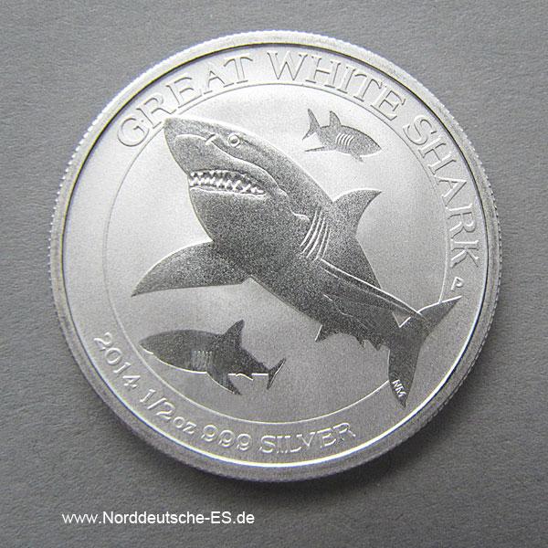 Australien 1_2 oz Silber Great White Shark 2014