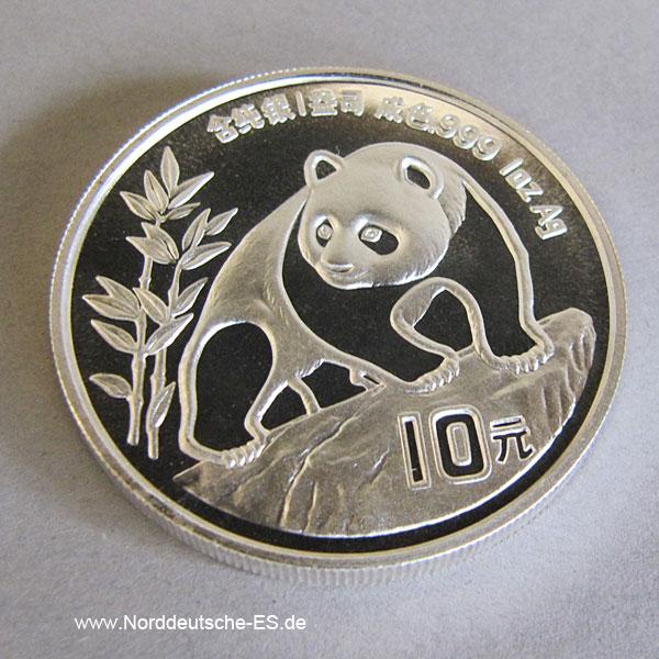 China Panda 1oz Feinsilber 999 Silberpanda 1990