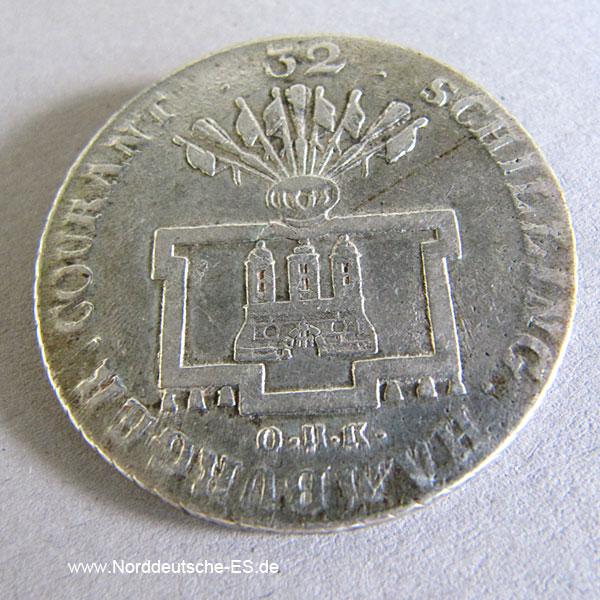Hamburg Stadt 32 Schilling 1796 OHK Silber Franciscus II