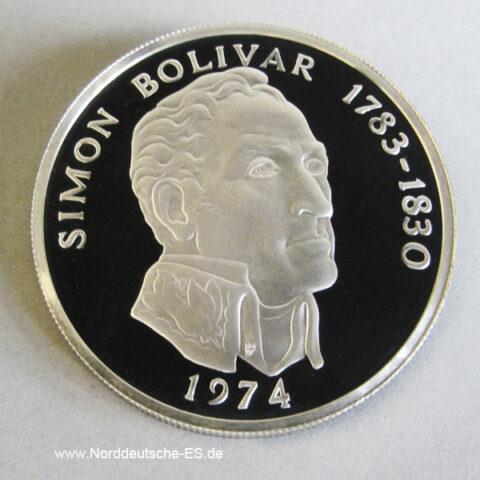 Panama 20 Balboas Silbermünze 1974 Simon Bolivar polierte Platte
