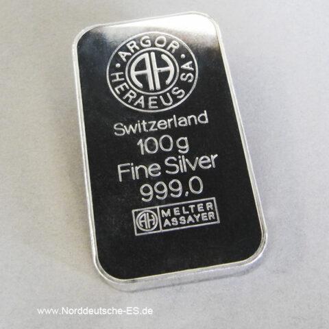 Silberbarren 100 g Argor Heraeus Feinsilber 999