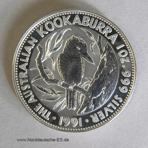 Australien 1 oz Silber Kookaburra 1991