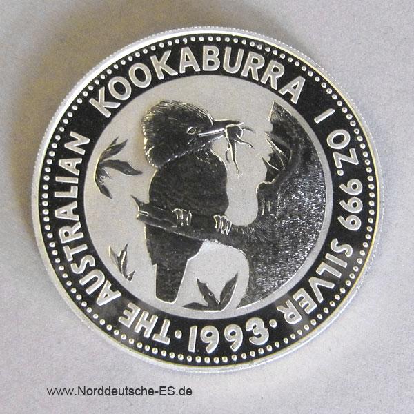 Australien Kookaburra 1 oz Silbermünze 1993