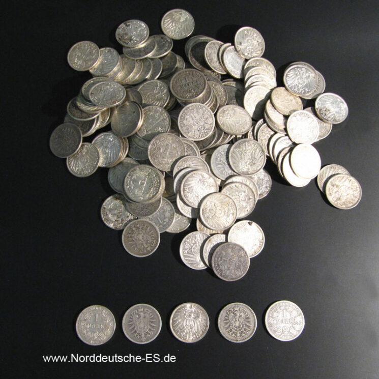 Deutsches Reich 1 Mark Silber 175 Stück von 1873-1916 unsortiert