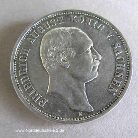 Deutsches Reich 3 Mark Silber Friedrich August Sachsen 1908-1913