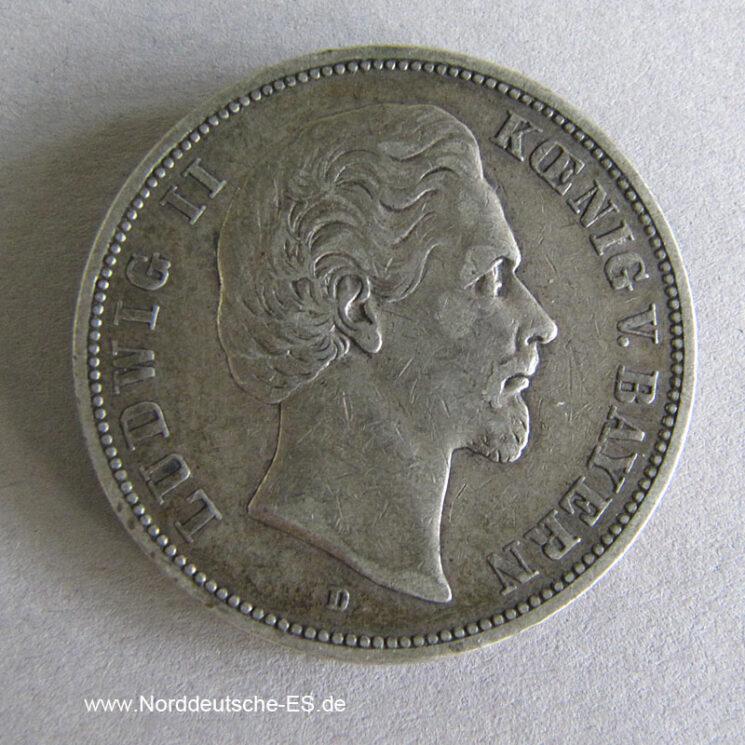 Deutsches Reich 5 Mark 1874 D Bayern König Ludwig II