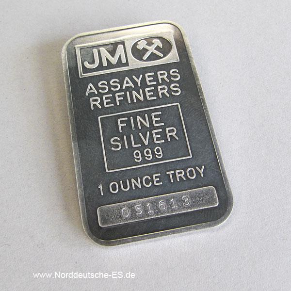 Silberbarren 1 oz Johnson Matthey 999 Feinsilver JM