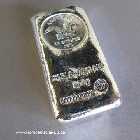 Silberbarren 250 g Andorra Umicore Münzbarren
