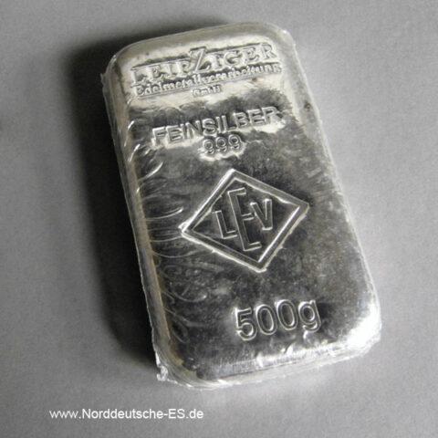 Silberbarren 500g LEV Leipziger Edelmetallverarbeitung