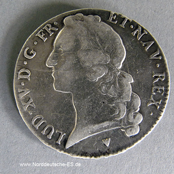 Frankreich 1 Ecu Silber 1764 König Louis XV