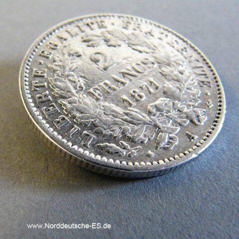 Frankreich 2 Francs 1871 A Ceres Silber 1870-1871